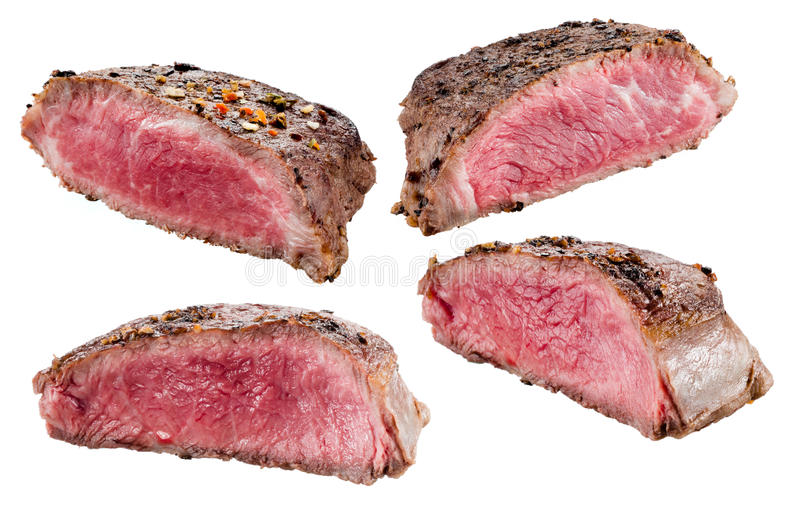 牛排 查出的肉白色 汇集 图库摄影