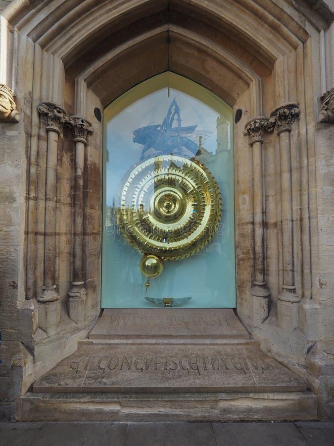 牛津大学基督圣体学院语科库时钟在剑桥 库存图片