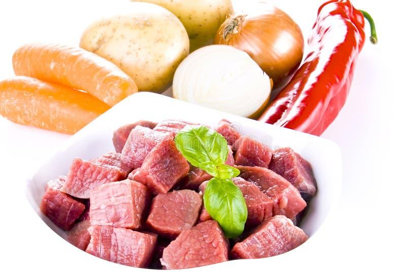 牛肉切成小方块的蔬菜 免版税库存图片
