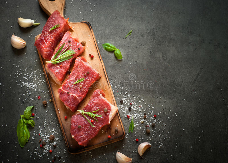 牛肉原始的牛排 免版税库存照片
