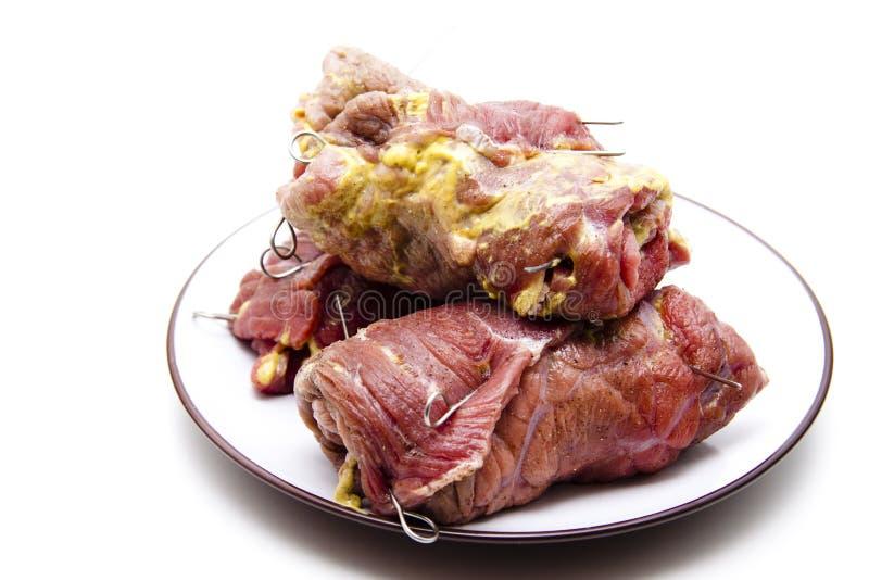 牛肉原始芥末的橄榄 库存图片