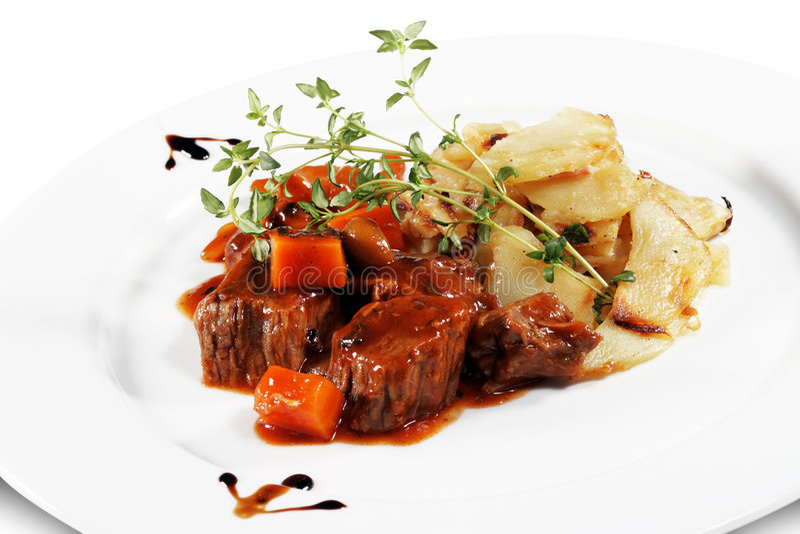 牛肉土豆炖煮的食物 库存照片