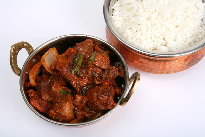 牛肉碗辣椒用咖哩粉调制服务 库存图片