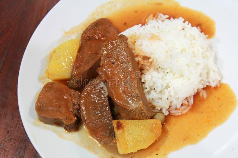牛肉米炖煮的食物 免版税图库摄影