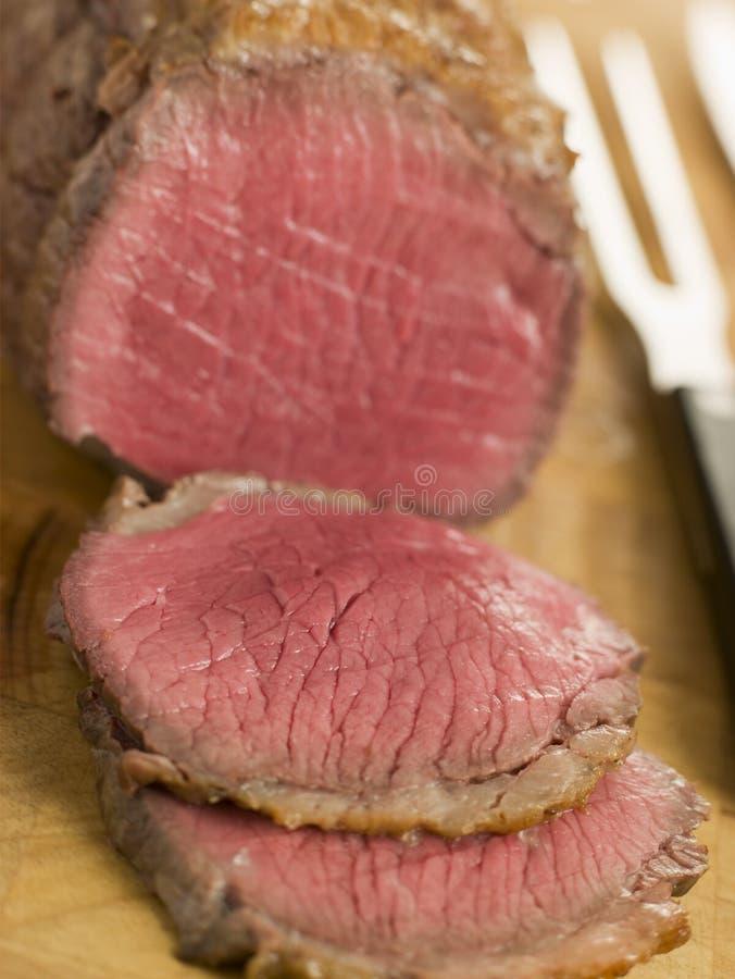 牛肉英国被雕刻的烘烤顶端 库存图片