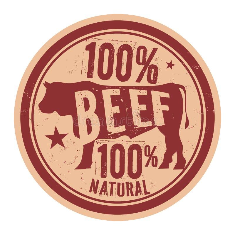 牛肉邮票或标签文本100%发牢骚自然肉 皇族释放例证
