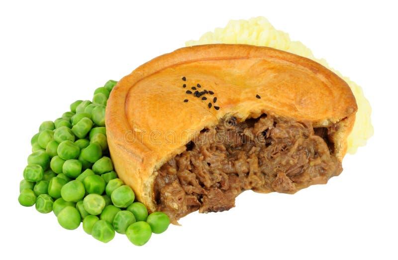 牛肉饼用土豆泥和豌豆 免版税库存图片