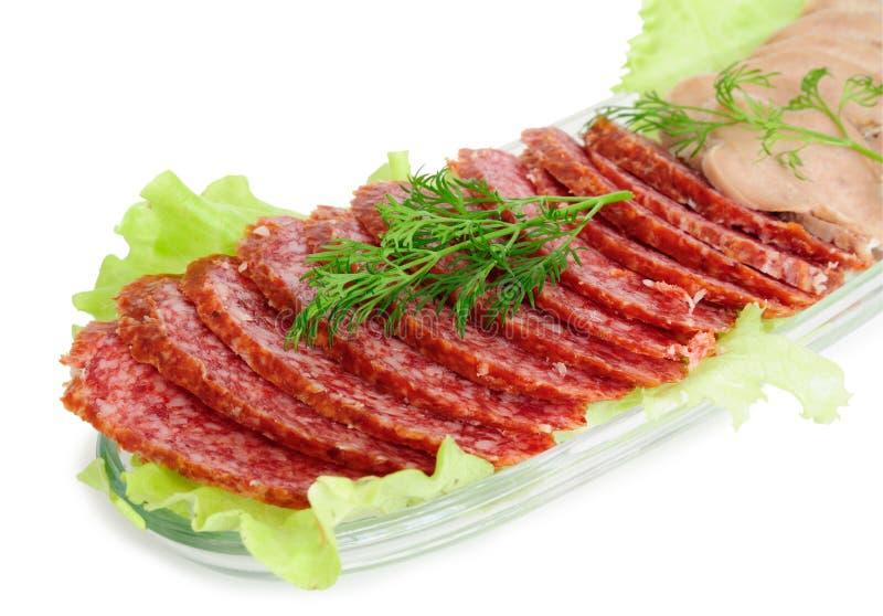 牛肉香肠熏制的舌头 图库摄影