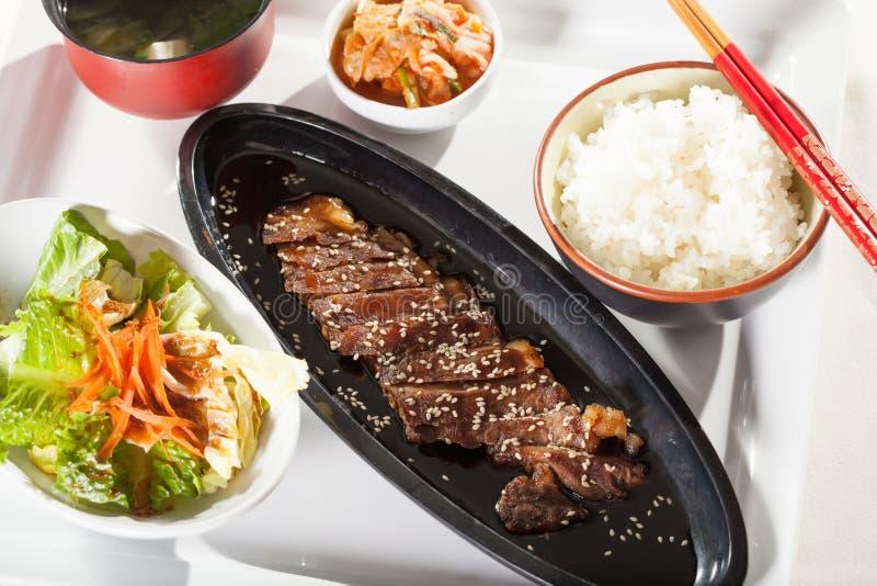 牛肉teriyaki集合 免版税库存照片