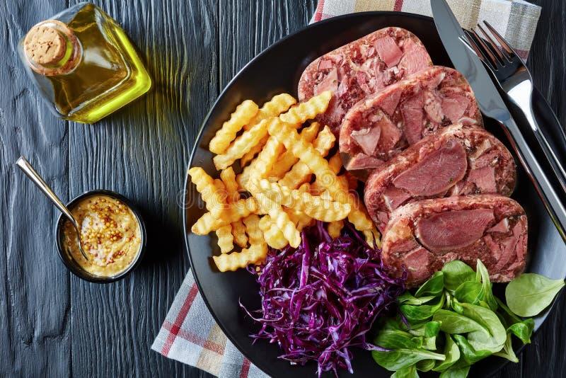 牛舌肉小毒蛇用凉拌卷心菜和薯条 免版税库存照片
