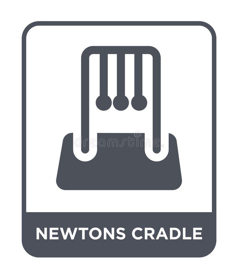 牛顿在时髦设计样式的摇篮象 牛顿在白色背景隔绝的摇篮象 牛顿摇篮简单传染媒介的象 向量例证