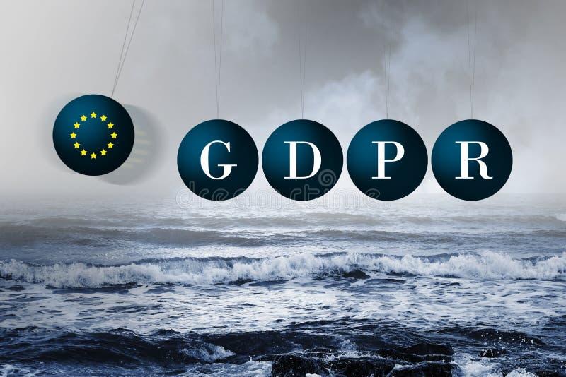 牛顿在风雨如磐的海的` s摇篮 GDPR的消极冲击 库存图片