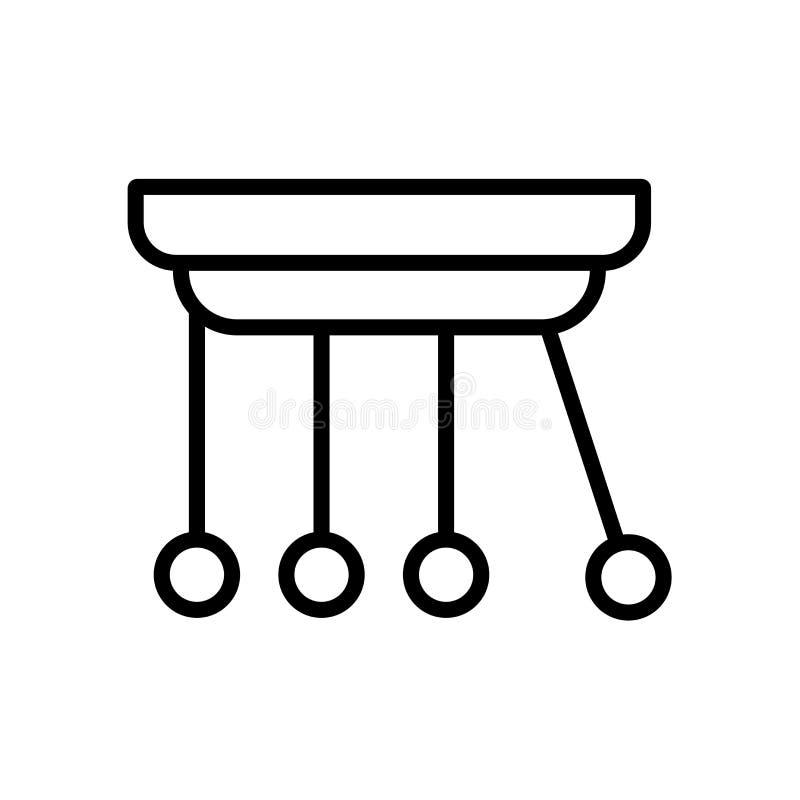 牛顿摇篮在白色背景隔绝的象传染媒介,牛顿摇篮标志 皇族释放例证