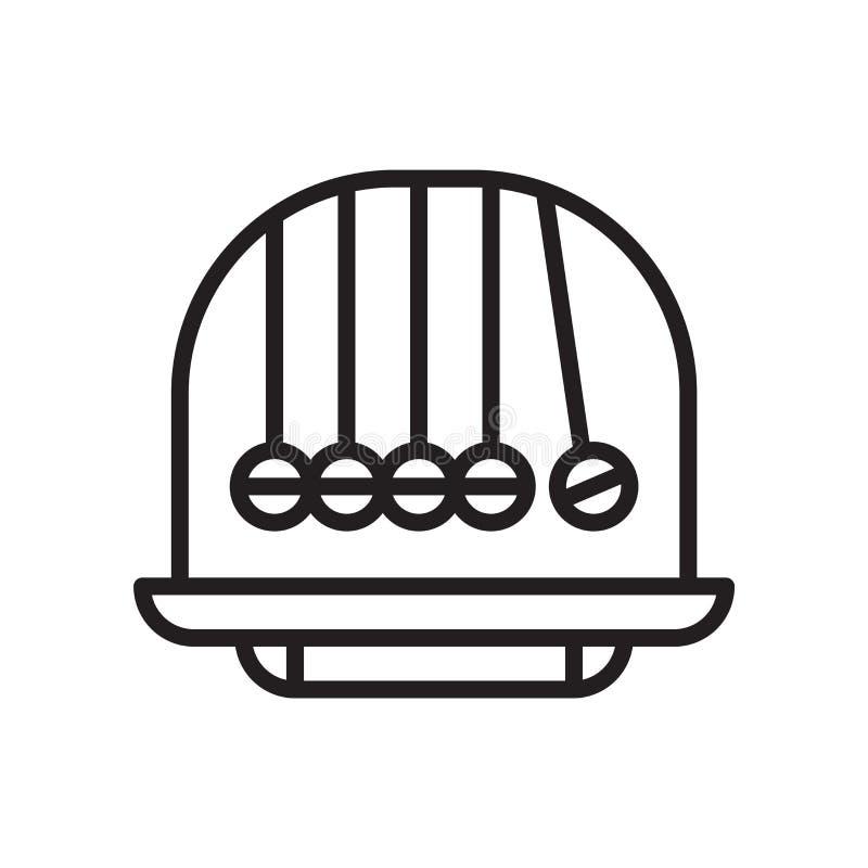 牛顿摇篮象在白色背景和标志隔绝的传染媒介标志,牛顿摇篮商标概念 皇族释放例证