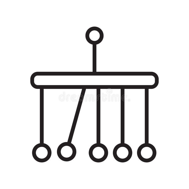 牛顿摇篮象在白色bac和标志隔绝的传染媒介标志 向量例证