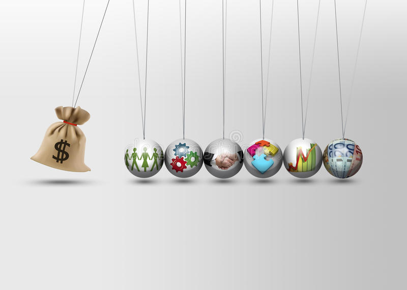 牛顿摇篮-金钱袋子 向量例证