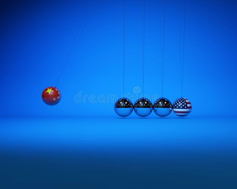 牛顿球与国旗、中美对抗与竞争 库存例证