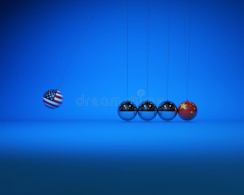 牛顿球与国旗、中美对抗与竞争 图库摄影
