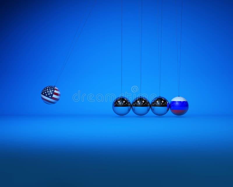 牛顿球与国旗、美俄对抗与竞争 向量例证