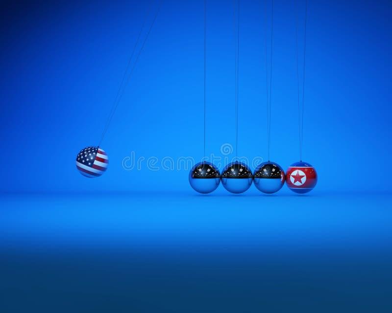 牛顿球与国旗、美朝对抗与竞争 库存例证