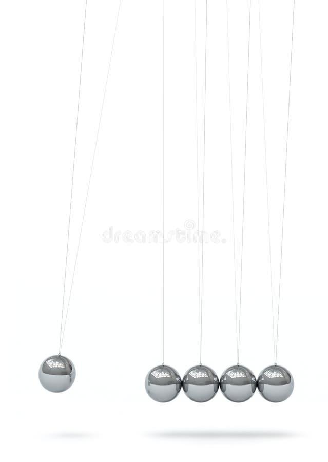 牛顿的摇篮-五个银色Chrome 3D金属摆锤 向量例证