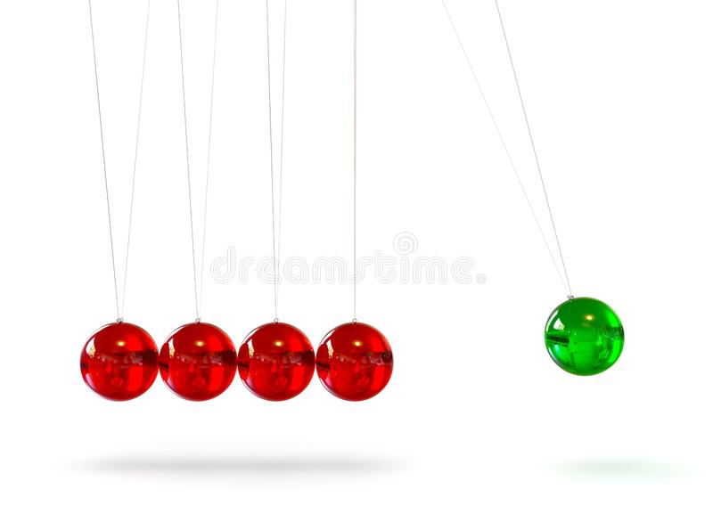 牛顿的摇篮-五红色和绿色色的3D玻璃摆锤 皇族释放例证