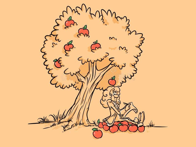 牛顿苹果树发现重力海报 皇族释放例证