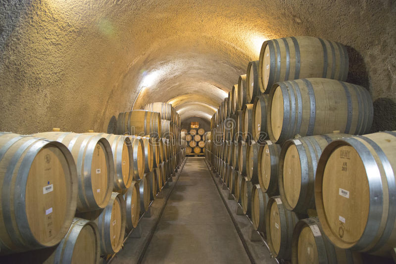 牛顿酿酒厂地窖在纳帕谷 免版税库存图片