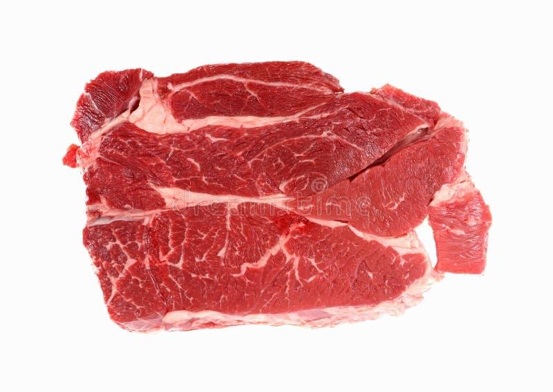 牛颈肉牛排顶视图 免版税库存照片