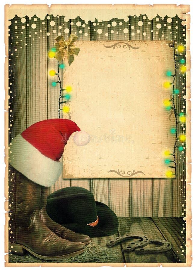 牛仔与圣诞老人帽子和古董纸的圣诞节背景为 皇族释放例证