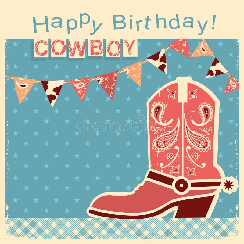 牛仔与牛仔鞋子的生日快乐卡片 传染媒介儿童卡片 皇族释放例证