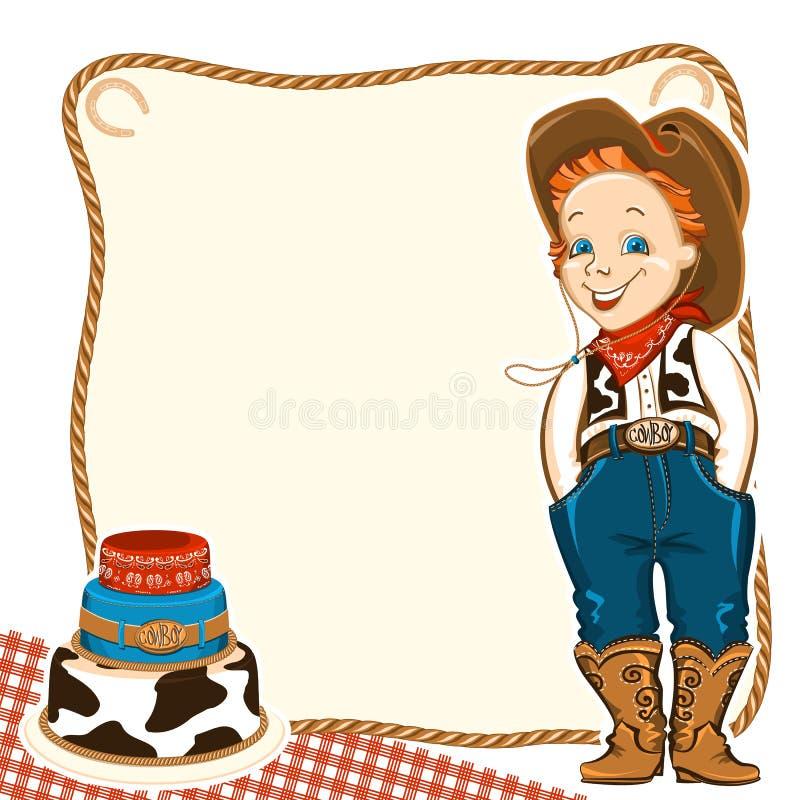 牛仔儿童与蛋糕的生日背景 皇族释放例证