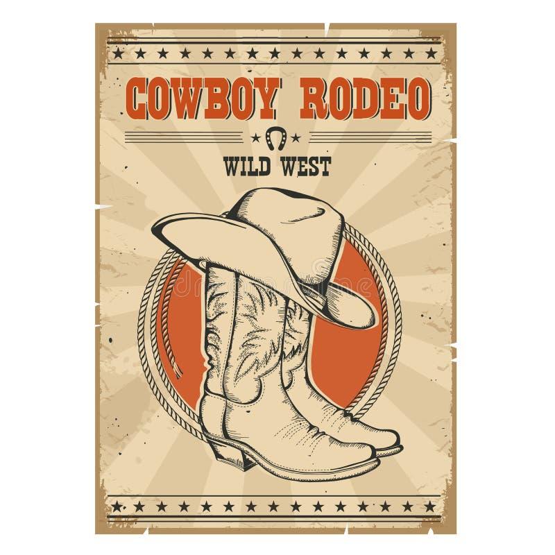 牛仔圈地海报 与文本的西部葡萄酒例证 皇族释放例证