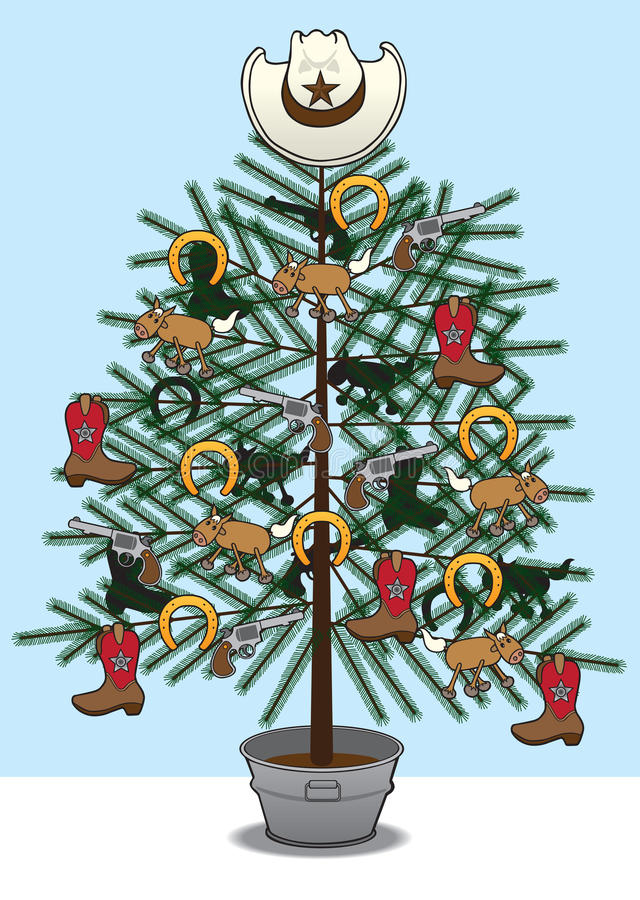 牛仔圣诞树 皇族释放例证