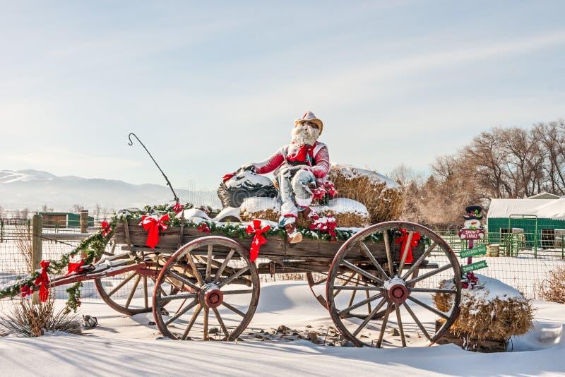牛仔圣诞老人 免版税库存照片