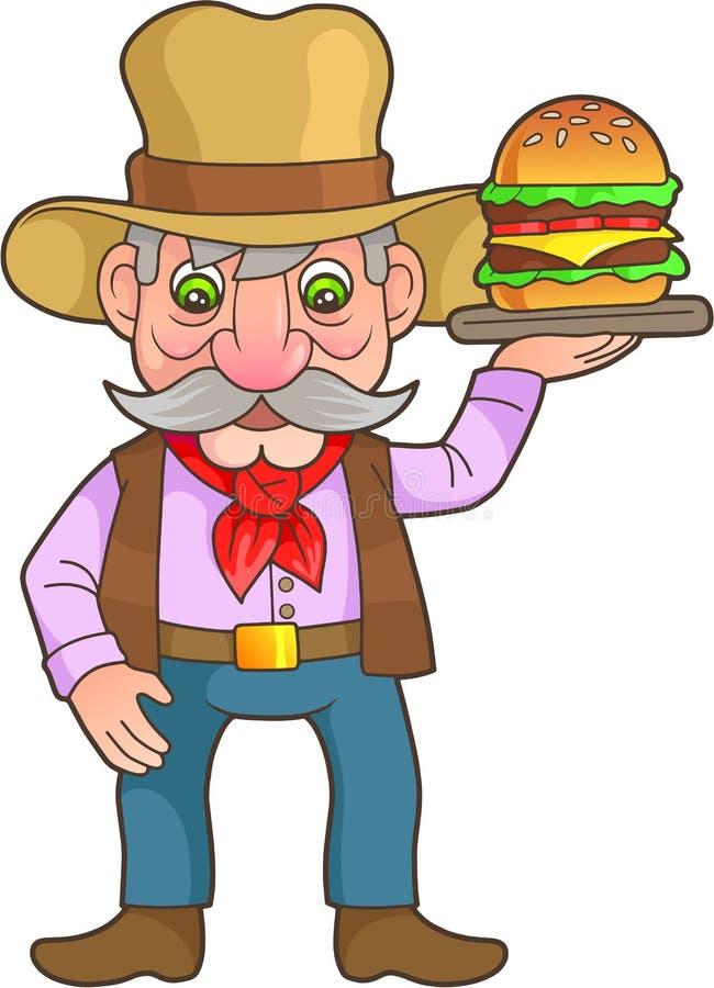 牛仔对待鲜美汉堡 库存例证