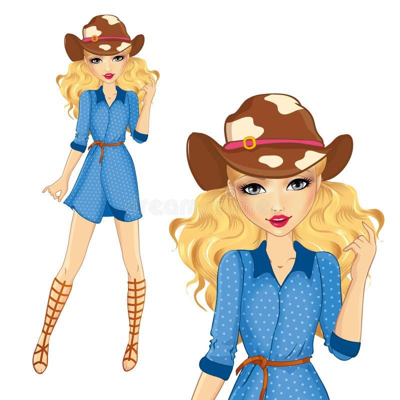 牛仔帽和凉鞋的女孩 向量例证