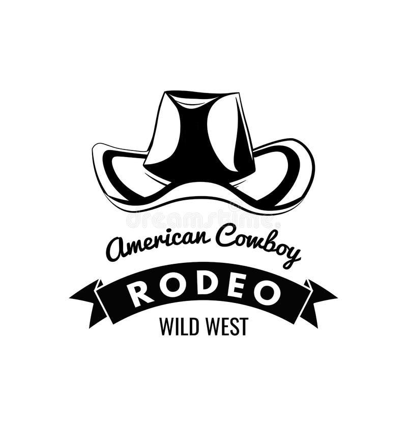 牛仔帽象征,标签,徽章,在白色背景的商标 狂放的西部题材 传染媒介被隔绝的例证 库存例证