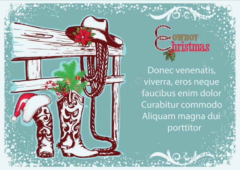 牛仔文本的圣诞节海报 向量例证