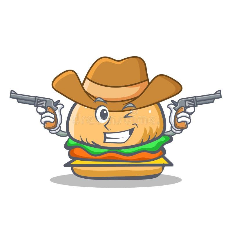 牛仔汉堡字符快餐 向量例证