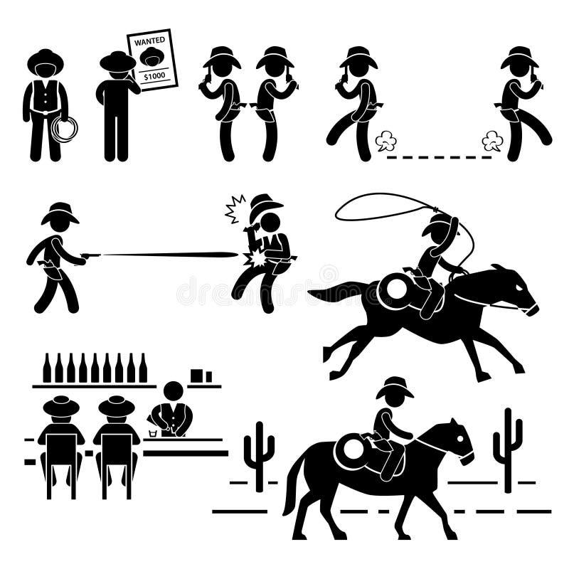 牛仔狂放的西部决斗酒吧马图表 向量例证