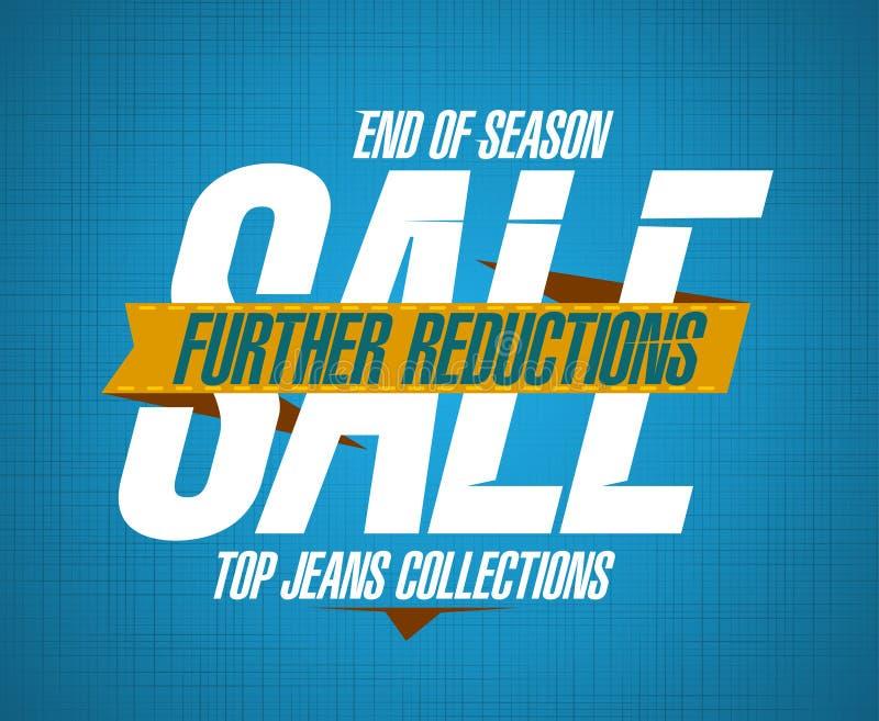 牛仔裤的进一步减少销售设计 库存例证