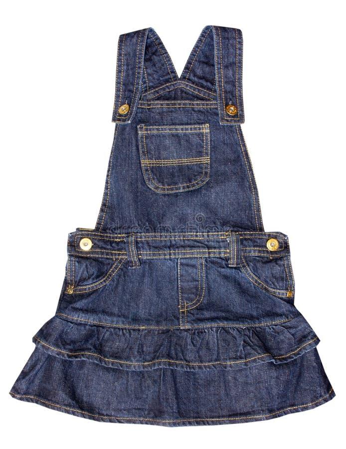 牛仔裤被隔绝的儿童的礼服 免版税库存照片