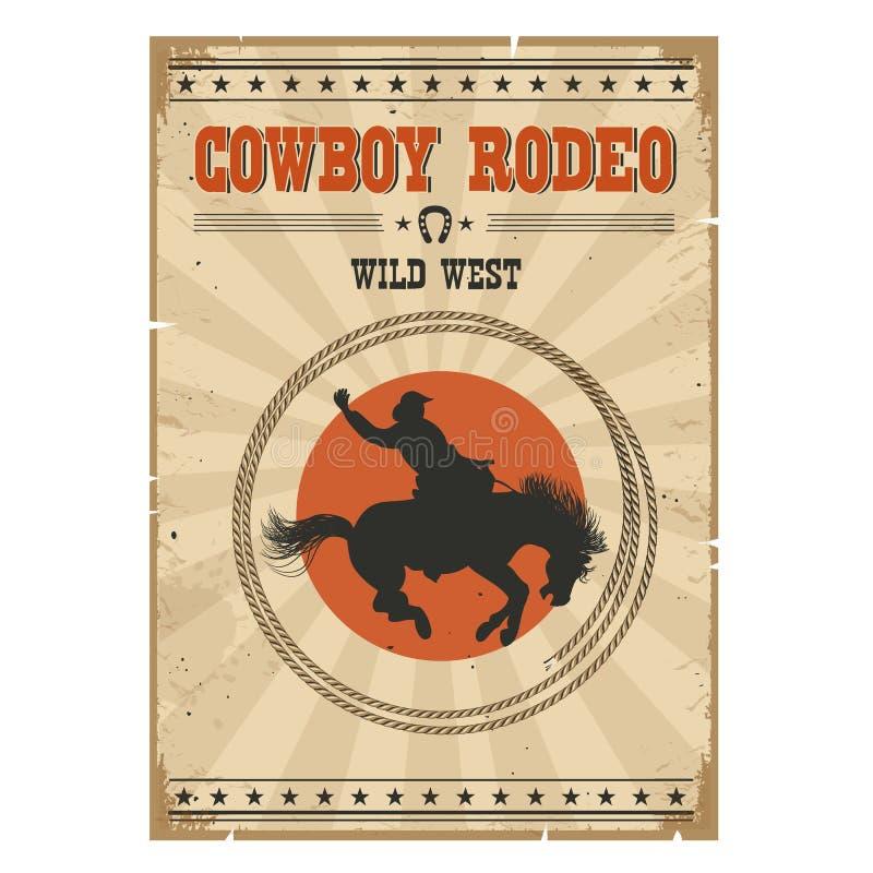 牛仔马圈地海报 与文本的西部葡萄酒例证 皇族释放例证