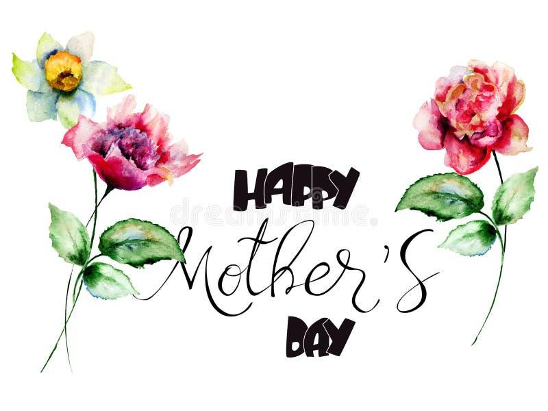 牡丹和水仙开花与标题愉快的母亲节 向量例证