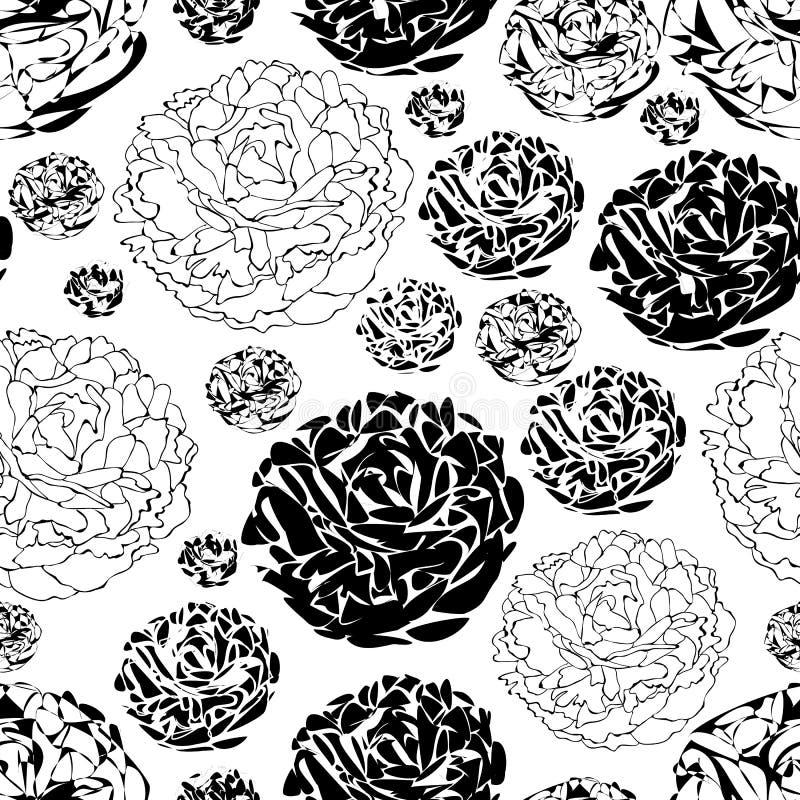 牡丹庭院花在黑白的绽放无缝的重复样式背景中 向量例证
