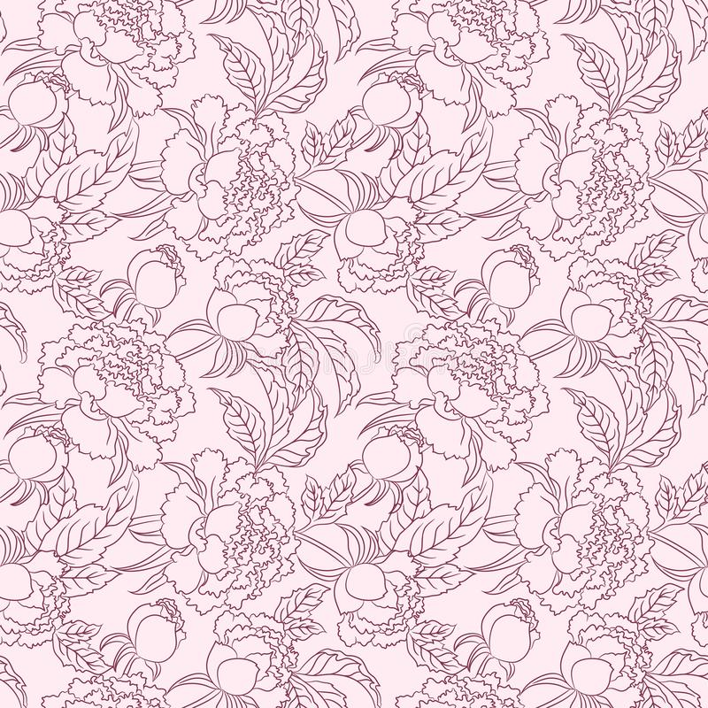 Peony seamless vector patten Vector vintage floral background 库存例证