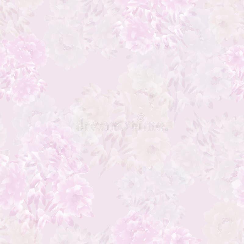 牡丹桃红色,白色,绿色花的无缝的样式在浅紫色的背景的 背景细部图花卉向量 水彩 向量例证