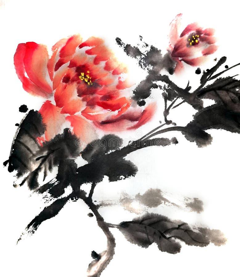 牡丹玫瑰中国或日本墨水绘画  库存例证