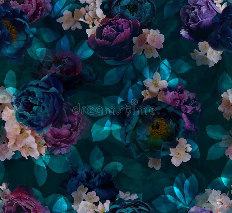 牡丹的样式在绿宝石紫色树荫下 皇族释放例证